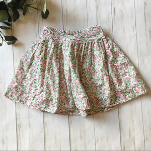 Lilly Pulitzer White Green Pink Floral Print Skirt